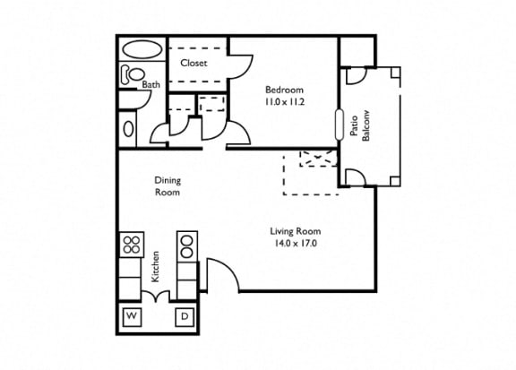 Floor Plan  1 bedroom, Atlanta, GA, apartments, rentals