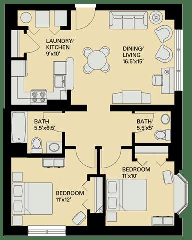 Floor Plan  Floor plan at Marion Square, Massachusetts