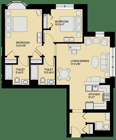 Floor Plan  Floor plan at Marion Square, Brookline, 02446
