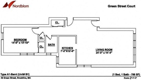 Floor Plan  Floor plan at Green Street, Brookline,Massachusetts