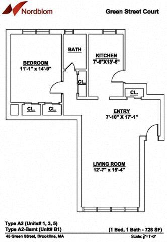 Floor Plan  Floor plan at Green Street, Massachusetts