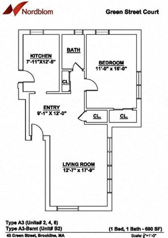 Floor Plan  Floor plan at Green Street, Brookline