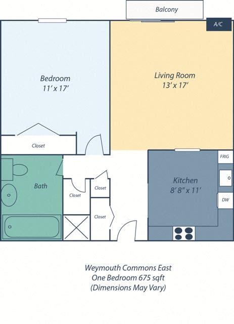 Floor Plan  One Bedroom Audubon