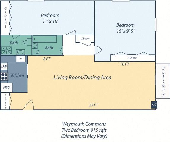 Floor Plan  Two Bedroom Audubon