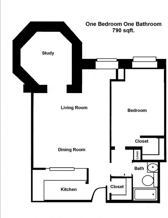 Floor Plan  Mass Mills I 1BR/1BA