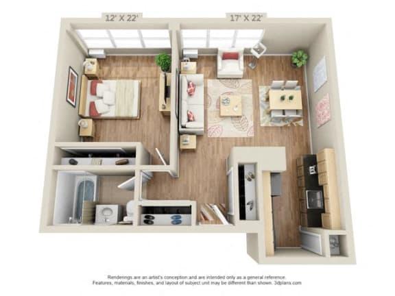 Floor Plan  One bedroom 3