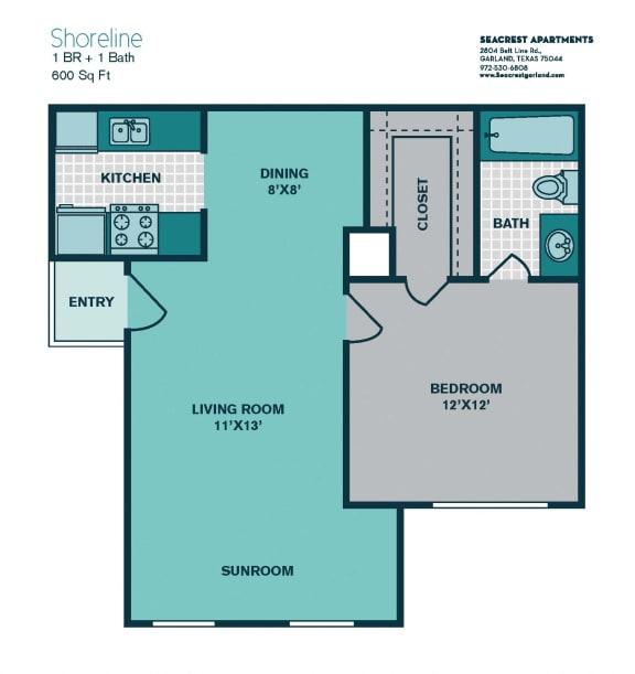 Floor Plan  1 Bedroom A2 - 600sqft - SHORELINE