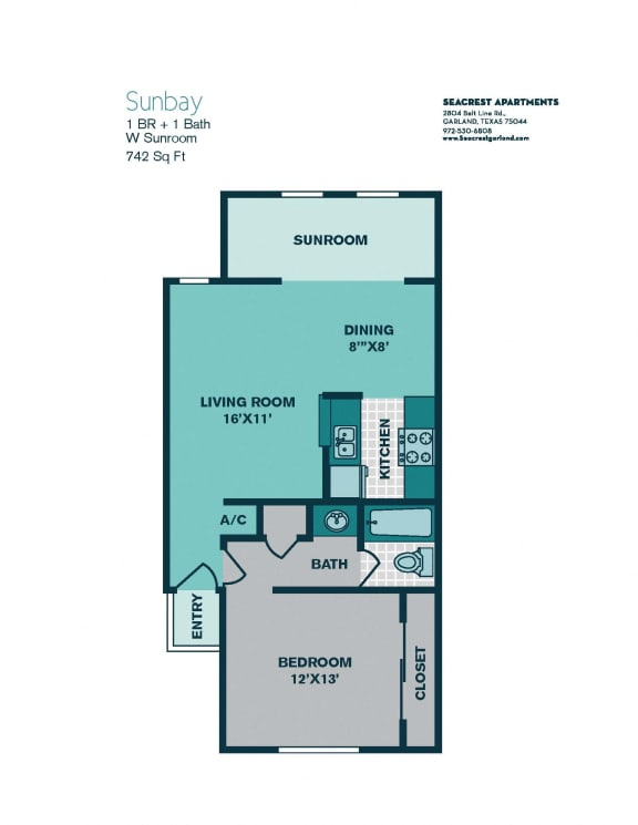 Floor Plan  1 Bedroom A4 - 742sqft - SUNBAY