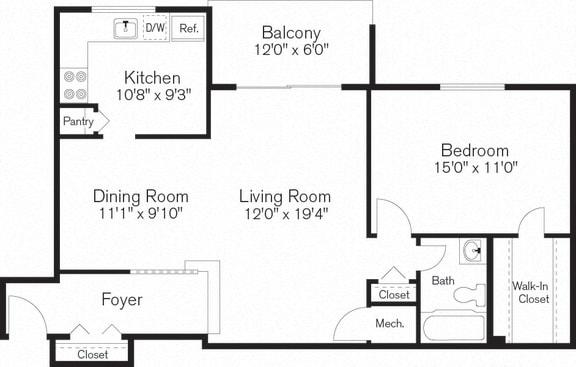 Floor Plan  One Bedroom Apartment, Floorplan, Beltsville, MD