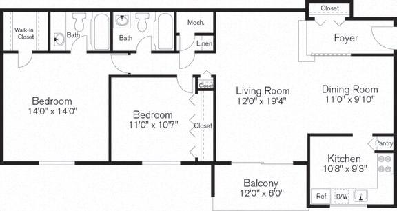 Floor Plan  Two Bedroom Floorplan, Barclay Square, MD, 20705