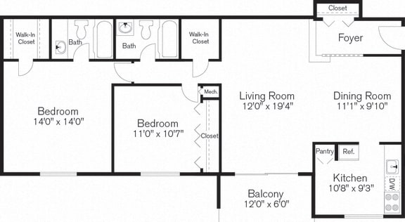Floor Plan  Two Bedroom Apartment, Beltsville, Maryland