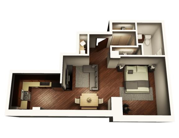 Floor Plan  1 Bed 1 Bath 646 sqft Floor Plan at Somerset Place Apartments, Illinois, 60640