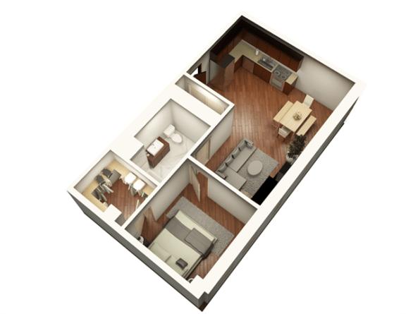 Floor Plan  1 Bed 1 Bath 719 sqft Floor Plan at Somerset Place Apartments, Illinois, 60640