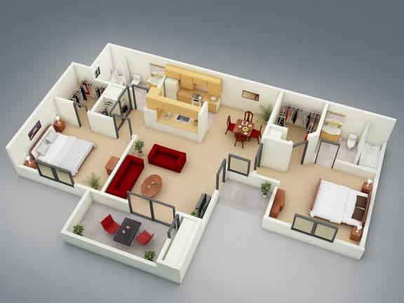 Floor Plan  The Resort Floor Plan at Mission Sierra Apartments, Union City, CA