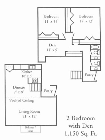 Floor Plan  2 Bedroom with Den Floor plan at Woodmere Townhomes, Cedarburg, 53012