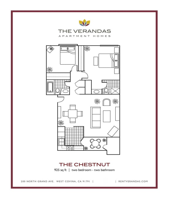 Floor Plan  2 Bed 2 Bath Floor plan at The Verandas Apartment Homes, 200 N. Grand Avenue, 91791