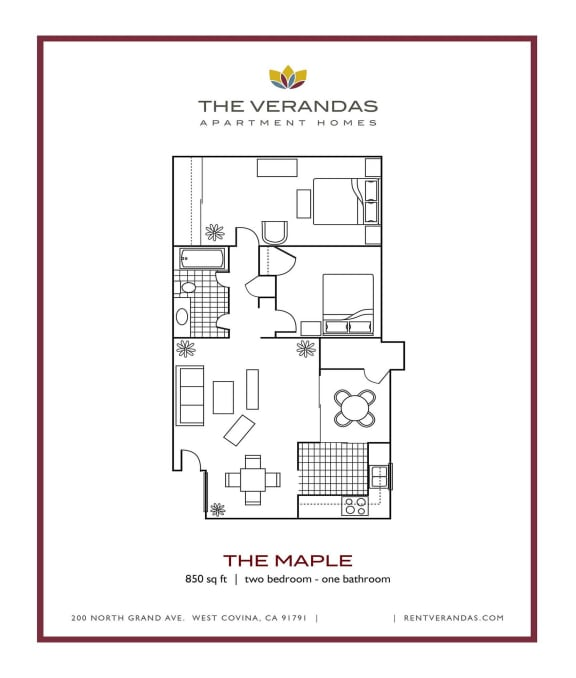 Floor Plan  2 Bed 1 Bath Floor plan at The Verandas Apartment Homes, CA, 91791
