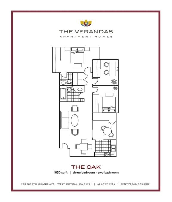 Floor Plan  3 Bed 2 Bath Floor plan at The Verandas Apartment Homes, West Covina, 91791