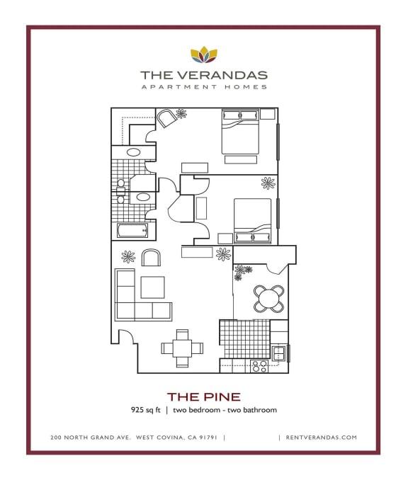 Floor Plan  2 Bed 2 Bath Floor plan at The Verandas Apartment Homes, 200 N. Grand Avenue, West Covina, CA