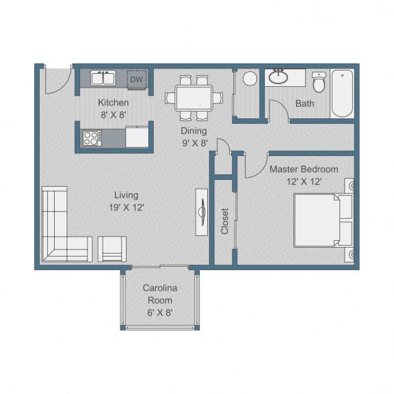 Floor Plan  Deluxe Floor Plan at Sterling Bluff Apartments, Savannah