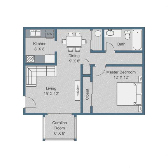 Floor Plan  Standard Floor Plan at Sterling Bluff Apartments, Savannah, Georgia