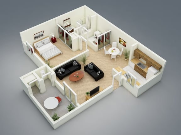 Floor Plan  Spring Floor Plan at The Seasons Apartments, California, 94583