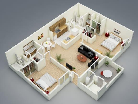 Floor Plan  Winter Floor Plan at The Seasons Apartments, San Ramon, 94583