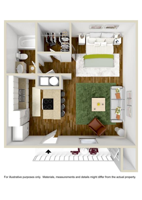 Floor Plan  Studio Floor Plan at The Grove at Lyndon, Louisville