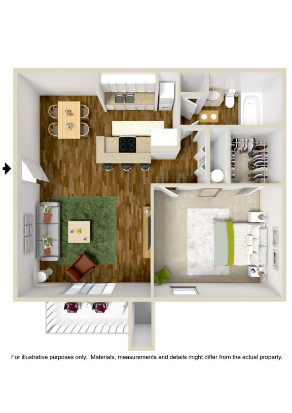 Floor Plan  1 Bedroom 1 Bath Floor Plan at The Grove at Lyndon, Kentucky
