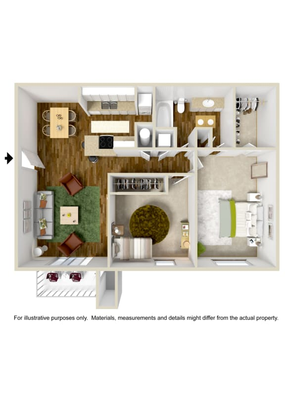 Floor Plan  2 Bedroom 1 Bath Floor Plan at The Grove at Lyndon, Kentucky, 40222