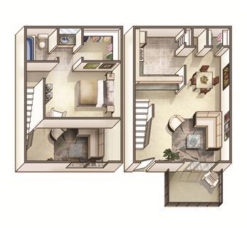 Floor Plan  The Lakehurst Floor Plan at Woodcreek Apartments, North Carolina, 27511