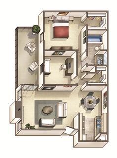Floor Plan  The Westfield Floor Plan at Woodcreek Apartments, Cary, NC, 27511