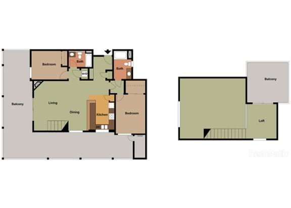 2 Bed - 2 Bath Corsica Loft at Le Blanc Apartment Homes, California, 91304