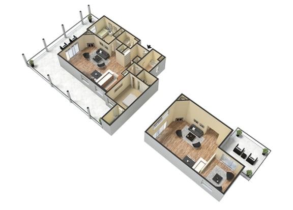 Floor Plan  2 Bed - 2 Bath Corsica Loft Floor Plan at Le Blanc Apartment Homes, California