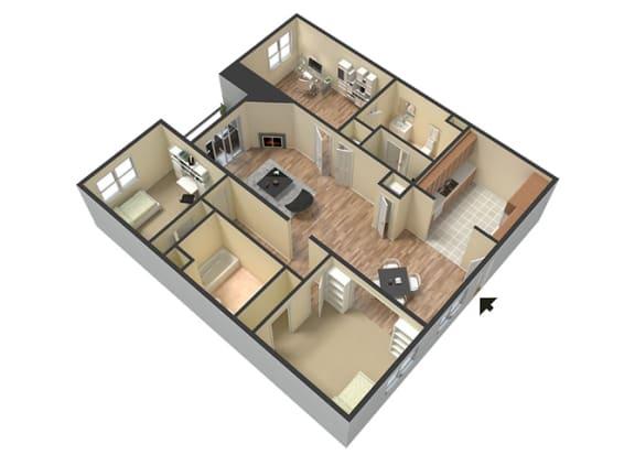 Floor Plan  3 Bed - 2 Bath Marbella Floor Plan at Le Blanc Apartment Homes, Canoga Park