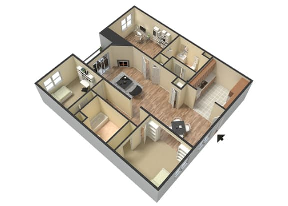 Floor Plan  Marbella Den Floor Plan at Le Blanc Apartment Homes, California, 91304