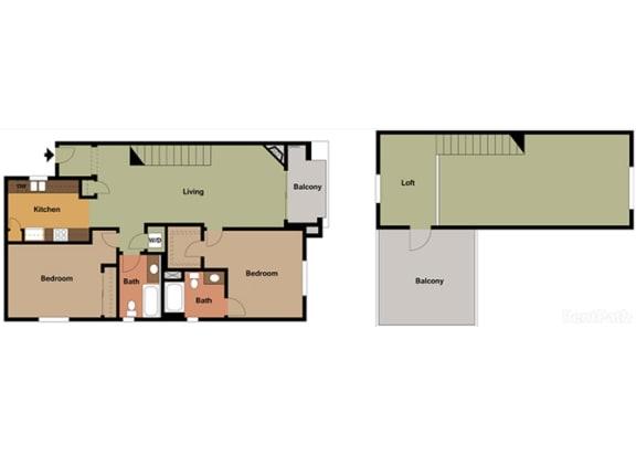 2 Bed - 2 Bath Santorini Loft Floor Plan at Le Blanc Apartment Homes, Canoga Park, CA