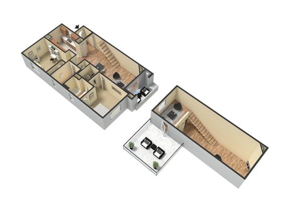 Floor Plan  2 Bed - 2 Bath Santorini Loft Floor Plan at Le Blanc Apartment Homes, Canoga Park, CA, 91304
