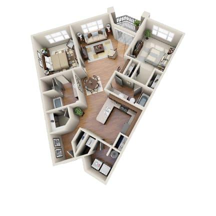 Floor Plan  The Baja Floor Plan at LangTree Lake Norman Apartments, North Carolina