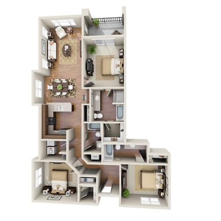 Floor Plan  The Donzi Floor Plan at LangTree Lake Norman Apartments, North Carolina, 28117