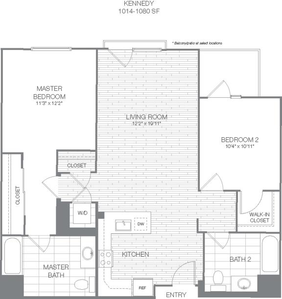Floor Plan  Kennedy - 2 Bedroom 2 Bath Floor Plan Layout - 1047 Square Feet