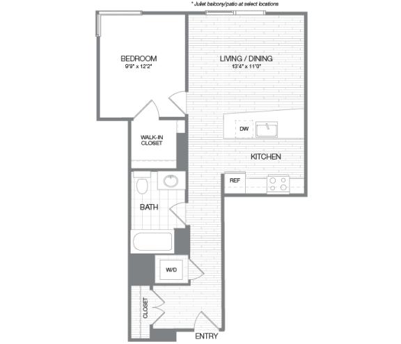 Floor Plan  Lincoln - 1 Bedroom 1 Bath Floor Plan Layout - 682 Square Feet