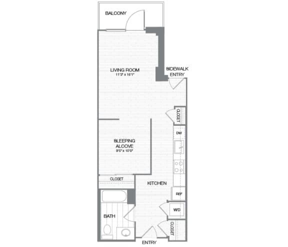 Floor Plan  Wilson - 0 Bedroom 1 Bath Floor Plan Layout - 634 Square Feet