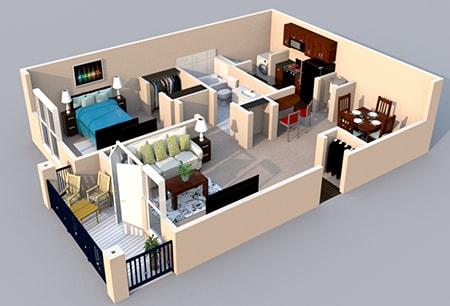 Floor Plan  3-D Floor Plan 1 bedroom 1 bath at Centerville Manor Apartments, Virginia Beach, 23464