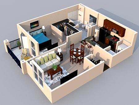 Floor Plan  3-D Floor Plan 1 bedroom 1 bath at Centerville Manor Apartments, Virginia Beach, Virginia