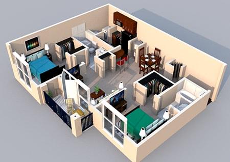 Floor Plan  3-D Floor Plan 2 bedroom 2 bath at Centerville Manor Apartments, Virginia Beach