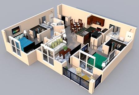 Floor Plan  3-D Floor Plan 2 bedroom 2 bath at Centerville Manor Apartments, Virginia