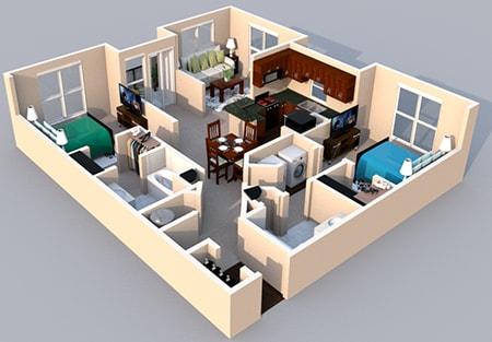 Floor Plan  3-D Floor Plan 2 bedroom 2 bath at Centerville Manor Apartments, Virginia, 23464