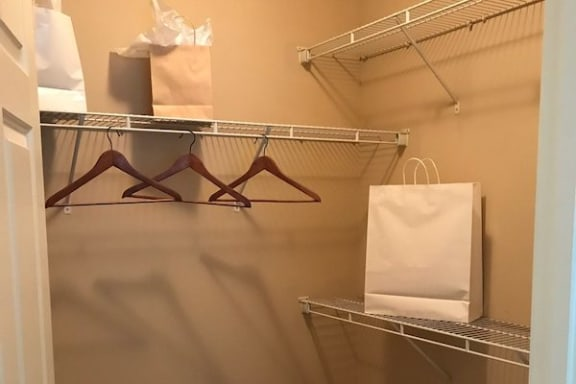 large closet with built-in wire shelving at Centerville Manor Apartments, Virginia Beach, VA, 23464