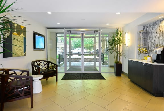 Contemporary Redesigned Lobby at Reside at 2727 Apartments, Chicago, IL,60614